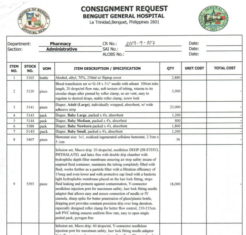 Request for Consignment CR-2019-9-007