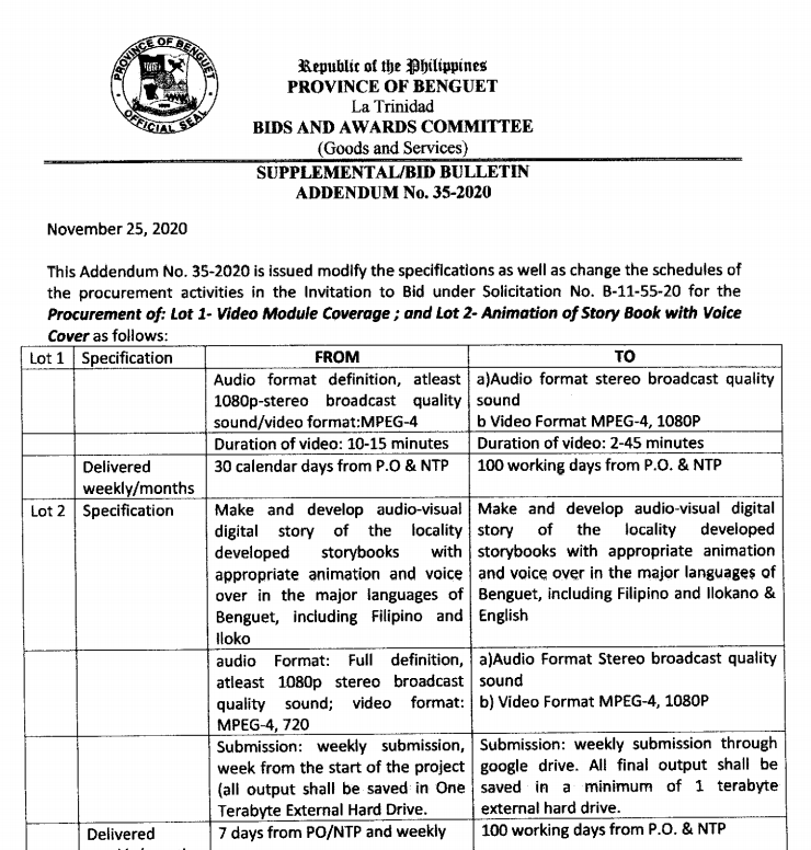 Supplemental Bid Bulletin No. 35-2020