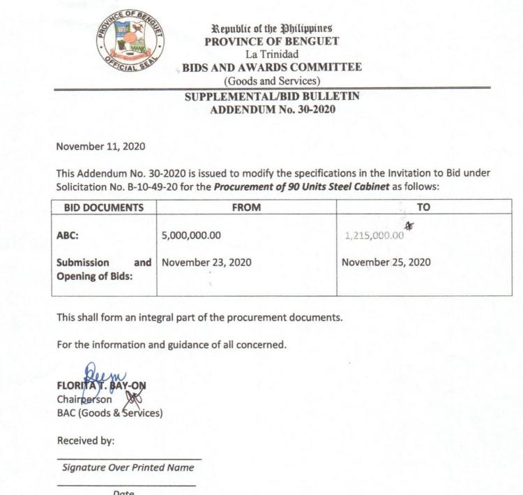 Supplemental Bid Bulletin No. 30, 32, 33 – 2020