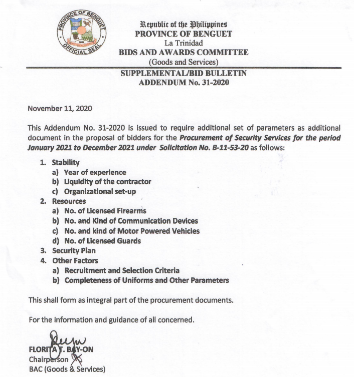 Supplemental Bid Bulletin No. 31-2020