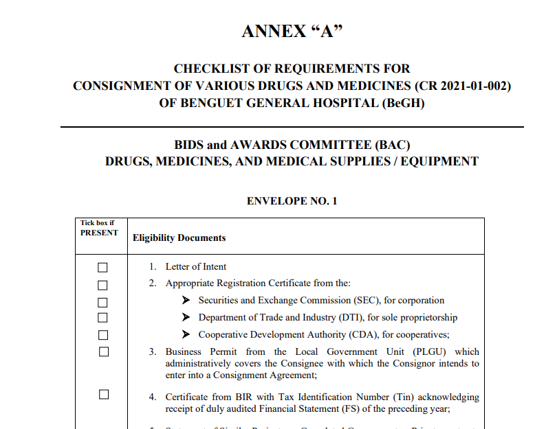 Annex A Consignment for CR 2021-01-002