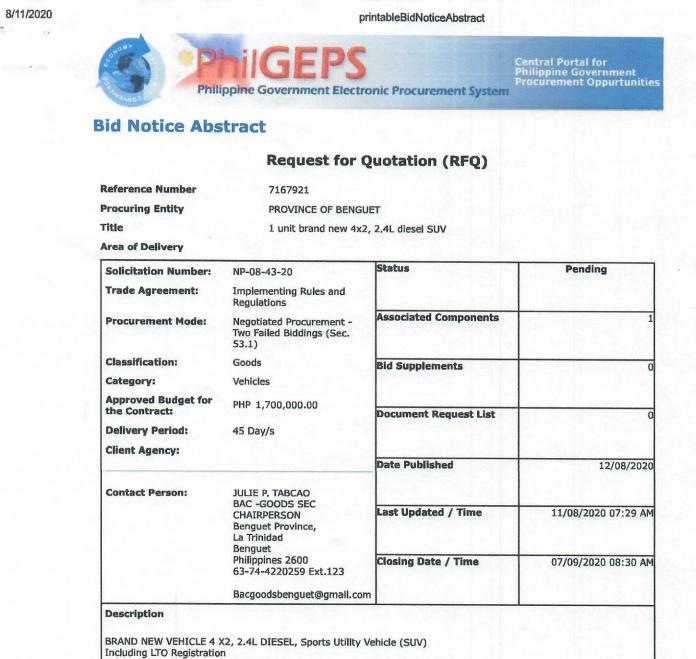 Negotiated Procurement: Opened on September 7, 2020