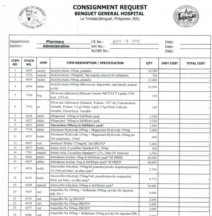Request for Consignment CR-2019-9-008