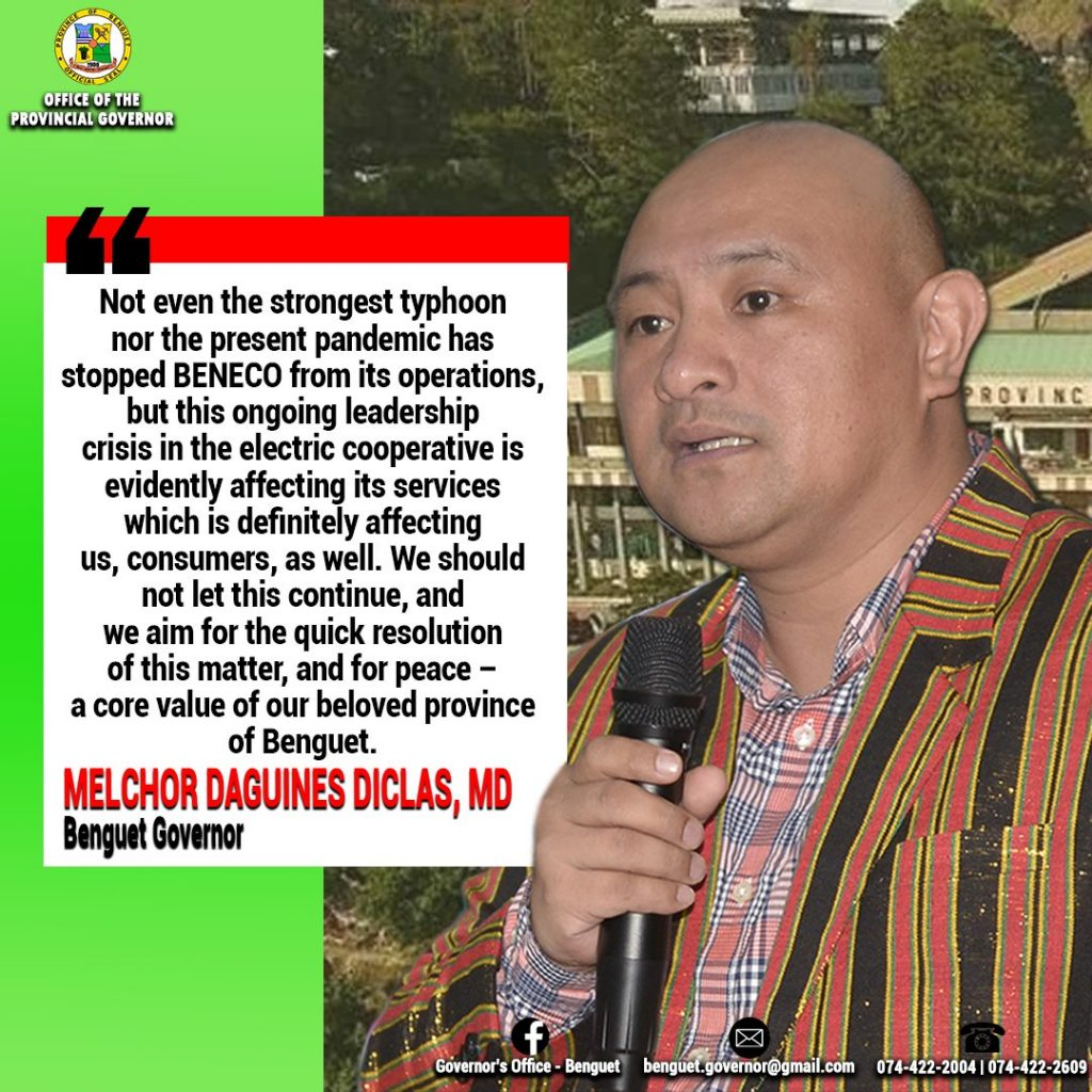Message of Support to BENECO from Gov. Dr. Melchor Daguines Diclas